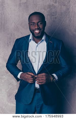 Portrait Of Handsome Bearded Afroamerican Man In Formalwear Fasten Jacket