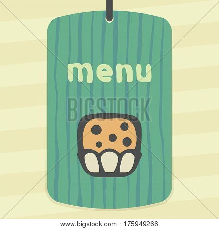 Vector outline sweet muffin food icon on label with hand drawn striped background. Elements for mobile concepts and web apps. Modern infographic logo and pictogram.