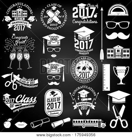 Set of Vector Class of 2017 badges and design elements on the chalkboard. Concept for shirt, print, seal, overlay or stamp, greeting, invitation card. Graduation design with hut and text Class of.