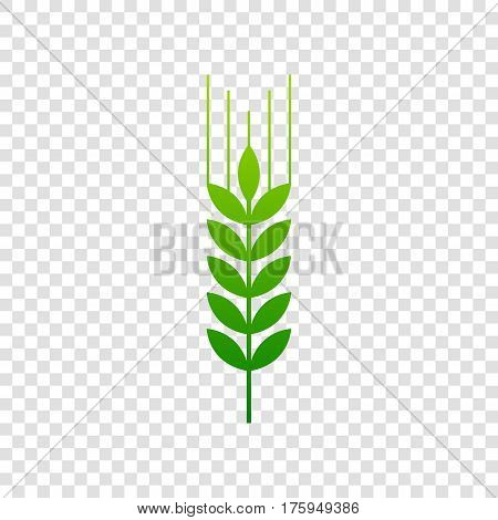 Wheat Sign Illustration. Spike. Spica. Vector. Green Gradient Icon On Transparent Background.