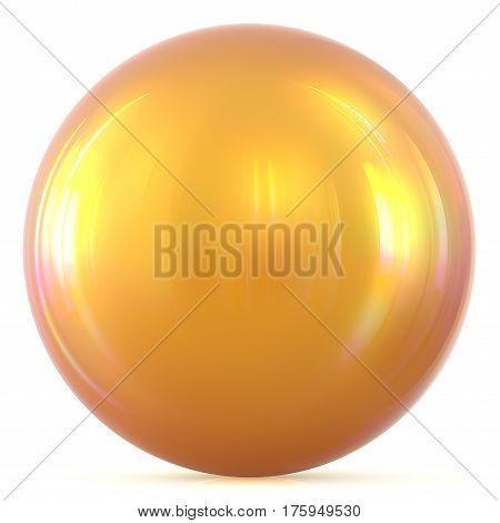 Ball golden sunny yellow sphere round button basic circle geometric shape solid figure simple minimalistic atom element single drop glossy sparkling object blank balloon icon. 3d render illustration