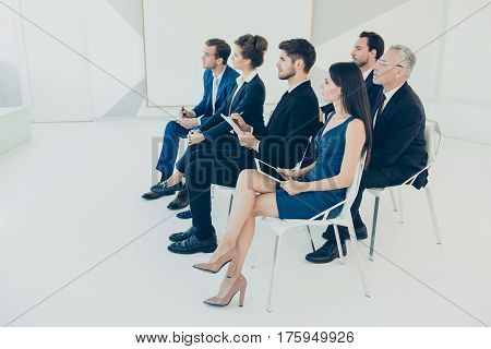 Young Business People Listening Lecture Of Famous Profesor