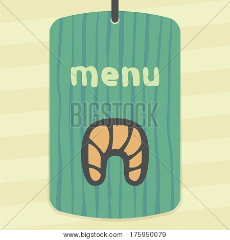 Vector outline croissant food icon on label with hand drawn striped background. Elements for mobile concepts and web apps. Modern infographic logo and pictogram.