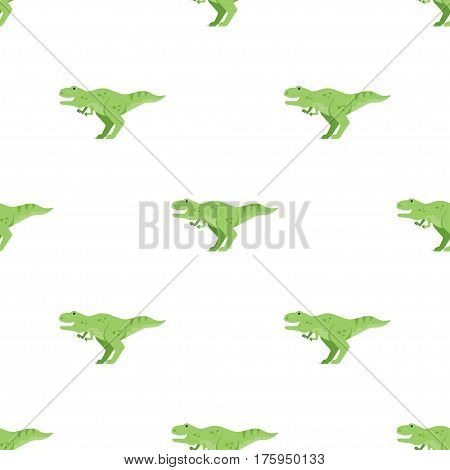 Vector flat style seamless pattern with green dinosaur t-rex. Icon for web. Isolated on white background.