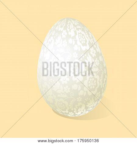 White Easter egg luxury decoration vector illustration. floral elegant style decor on christian resurrection symbol. spring life icon in chick feminine decorative style