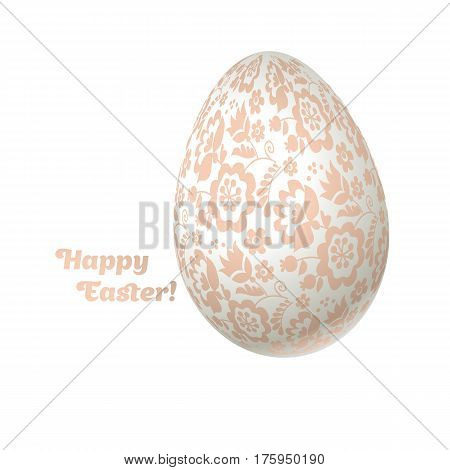 Easter egg luxury decoration vector illustration. floral elegant style decor on christian resurrection symbol. spring life icon in chick feminine decorative style