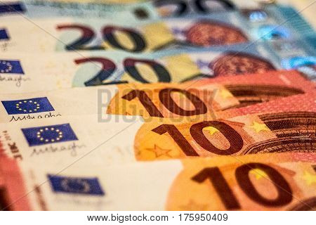 A composition of euro banknotes providing great options to be used for ilustrating subjects as bussines, banking, media, presentations etc., as well as for money related blogs or article features.