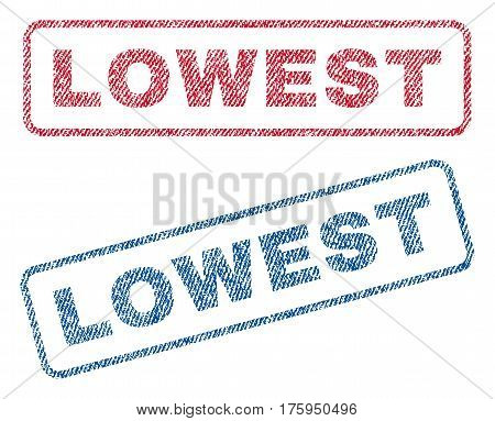 Lowest text textile seal stamp watermarks. Blue red fabric vectorized texture. Vector caption inside rounded rectangular banner. Rubber sticker with fiber textile structure.