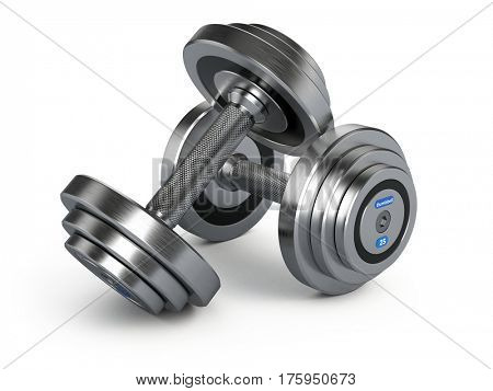 Pair of Dumbbell weights isolated on white background. 3d render