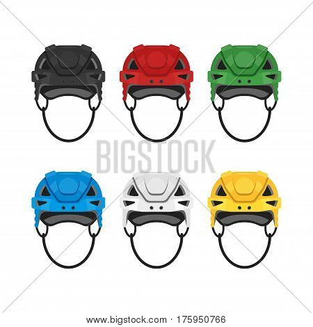 Vector flat style set of hockey helmet. Icon for web. Isolated on white background.