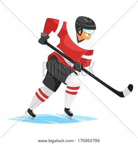 Vector flat style illustration of hockey player. Icon for web. Isolated on white background.