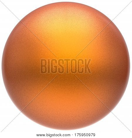 Orange sphere round button ball basic matted yellow circle geometric shape solid figure simple minimalistic atom single drop object blank balloon icon design element. 3D render illustration isolated