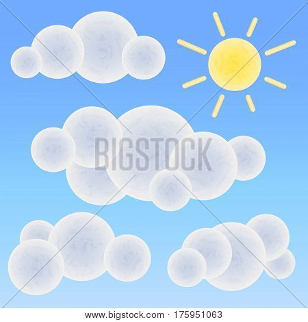Textured white clouds and sun on blue background. Sunny sky vector illustration. Round shape clouds nursery art. Cartoon clouds and sun clipart. Summer sky banner template. Text or message clouds set
