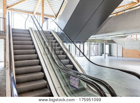 in a modern building double escalator there