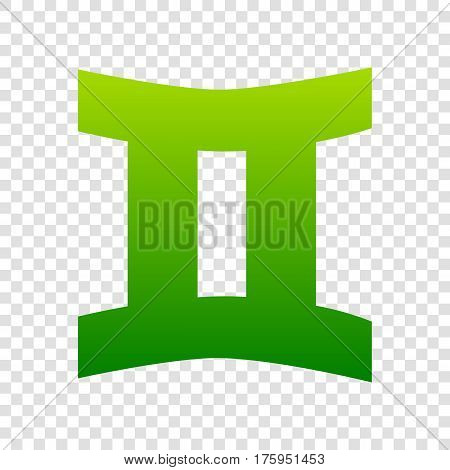 Gemini Sign. Vector. Green Gradient Icon On Transparent Background.