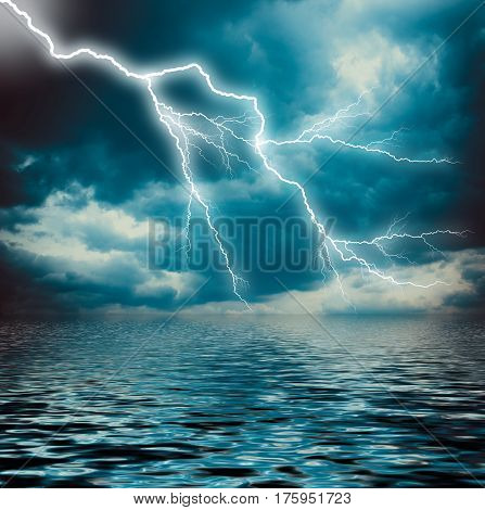 Lightning Strike On The Dark Cloudy Sky Over The Sea