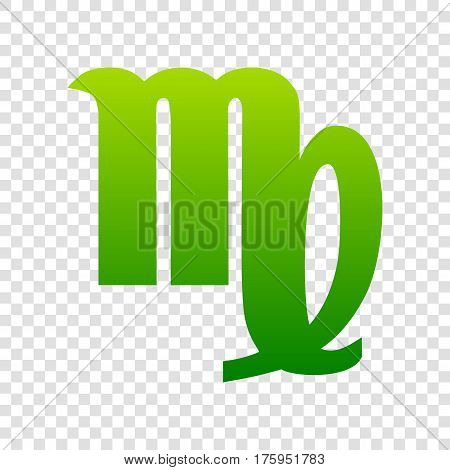 Virgo Sign Illustration. Vector. Green Gradient Icon On Transparent Background.