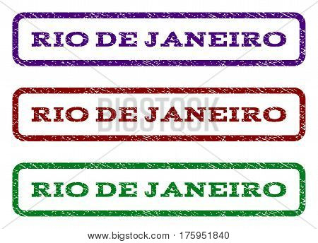 Rio De Janeiro watermark stamp. Text caption inside rounded rectangle frame with grunge design style. Vector variants are indigo blue, red, green ink colors. Rubber seal stamp with dust texture.