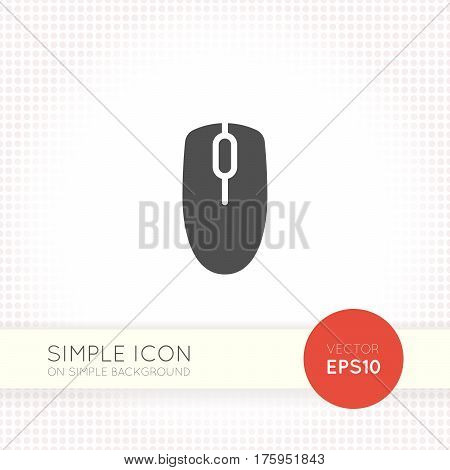 Flat computer mouse icon isolated on simple light background. Mouse icon vector. Mouse device image like logo or button for user interface of website and application.
