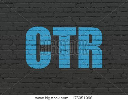 Finance concept: Painted blue text CTR on Black Brick wall background