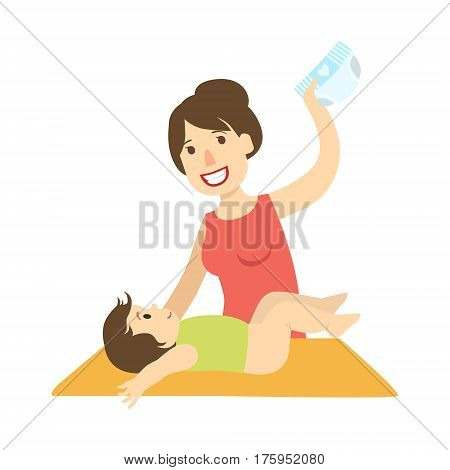 Mother Changing Nappy To A Baby On Changing Table, Illustration From Happy Loving Families Series. Smiling Cartoon Characters Together With Their Family Members Vector Drawing.