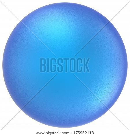 Blue sphere round button ball basic matted cyan circle geometric shape solid figure simple minimalistic atom single drop object blank balloon icon design element. 3D render illustration isolated