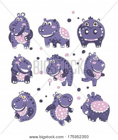Stylized Hippo With Polka-Dotted Pattern Set Of Childish Stickers Or Prints Of Friendly Toy Animal In Violet And Blue Color. Childish Cartoon Vector Icons With African Fauna Animal Isolated On White Background.