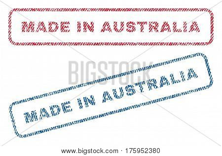 Made In Australia text textile seal stamp watermarks. Blue red fabric vectorized texture. Vector tag inside rounded rectangular shape. Rubber sign with fiber textile structure.