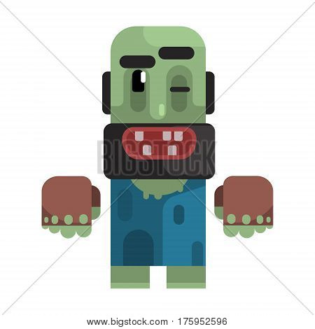 Dirty Tramp With Beard, Stained Clothes And Rotten Teeth, Revolting Homeless Person, Dreg Of Society, Pixelated Simplified Male Vagabond Character. Scary And Disgusting Outcast Addict Isolated Vector Flat Icon. poster
