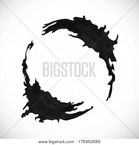 Vector black blot background. Abstract design frame