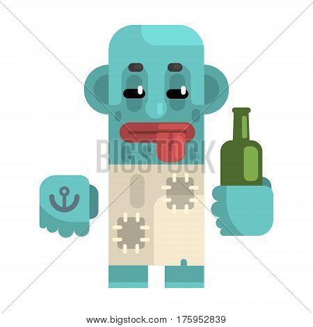 Drunk Alcoholic With Blue Skin Holding Wine Bottle, Revolting Homeless Person, Dreg Of Society, Pixelated Simplified Male Vagabond Character. Scary And Disgusting Outcast Addict Isolated Vector Flat Icon.