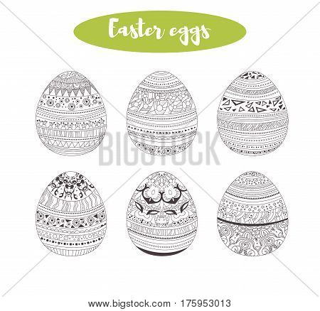 Easter eggs. Coloring book for adult, antistress coloring pages. Hand drawn vector isolated illustration on white background. Sketch