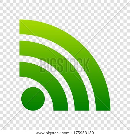 Rss Sign Illustration. Vector. Green Gradient Icon On Transparent Background.