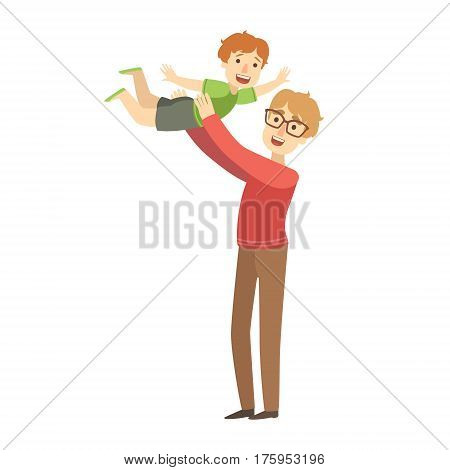 Dad Throwing Little Son In The Air, Illustration From Happy Loving Families Series. Smiling Cartoon Characters Together With Their Family Members Vector Drawing.