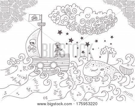 Children's illustration with pirate ship, sea and whale. Black illustration on white background. Coloring book for kids, antistress coloring pages. Hand drawn vector isolated. Sketch