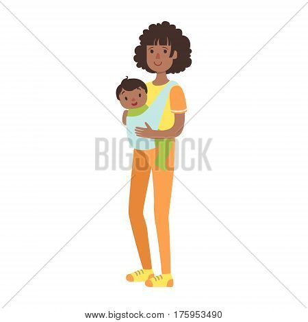 Young Mother With Baby Son In A Sling, Illustration From Happy Loving Families Series. Smiling Cartoon Characters Together With Their Family Members Vector Drawing.