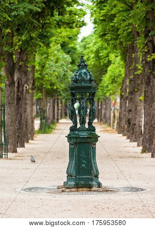 Paris France - June 03 2015: One of the drinking antique Wallace fountains with women group sculpture on the Champs Elysees. Those fountains are recognized as one of the symbols of Paris.