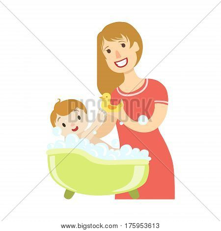 Young Mother Giving A Bath To Baby Son, Illustration From Happy Loving Families Series. Smiling Cartoon Characters Together With Their Family Members Vector Drawing.