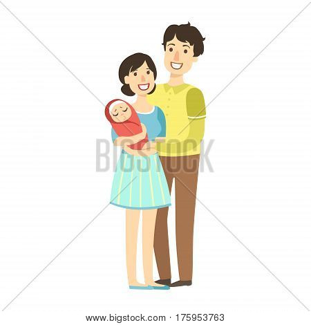 Young Parents With Newborn Kid In Arms, Illustration From Happy Loving Families Series. Smiling Cartoon Characters Together With Their Family Members Vector Drawing.