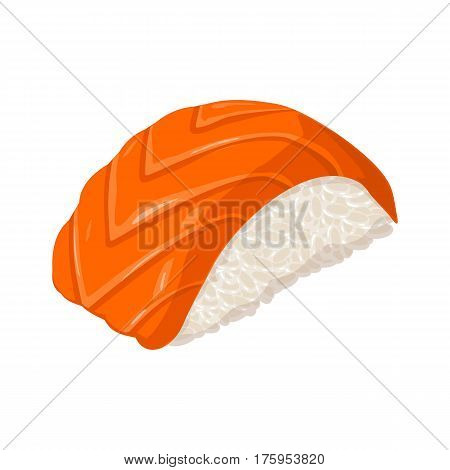 Nigiri Sushi with fish. Isolated on white background. Vector flat color illustration. For icon and menu