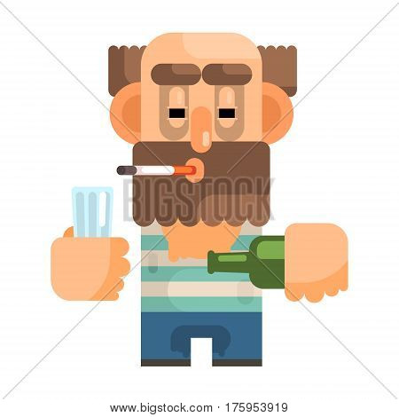 Alcoholic With Glass And Bottle, Revolting Homeless Person, Dreg Of Society, Pixelated Simplified Male Vagabond Character. Scary And Disgusting Outcast Addict Isolated Vector Flat Icon.