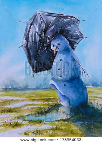 Sad snowman with umbrella.Picture cretaed with watercolors.