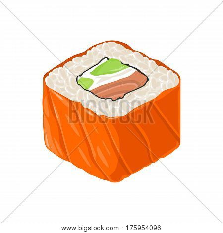 Sushi roll Philadelphia with fish cream cheese avocado. Isolated on white background. Vector flat color illustration. For icon and menu