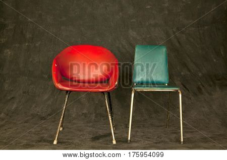 Vintage chairs on dark background, modern retro design