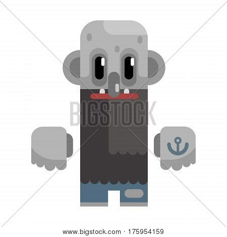 Bold Tramp With Long Beard And Grey Skin, Revolting Homeless Person, Dreg Of Society, Pixelated Simplified Male Vagabond Character. Scary And Disgusting Outcast Addict Isolated Vector Flat Icon.