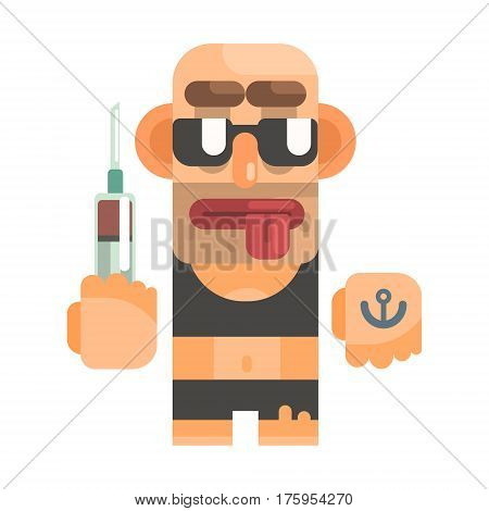 High Junkie With Drug Syringe, Revolting Homeless Person, Dreg Of Society, Pixelated Simplified Male Vagabond Character. Scary And Disgusting Outcast Addict Isolated Vector Flat Icon.