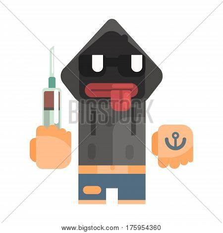 Junkie With Hoodie And Shades Holding Syringe, Revolting Homeless Person, Dreg Of Society, Pixelated Simplified Male Vagabond Character. Scary And Disgusting Outcast Addict Isolated Vector Flat Icon.