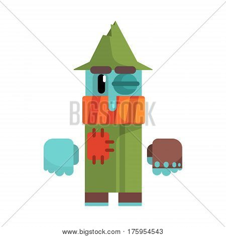 Tramp With Blue Sking And Black Eye Wearing Patched Green Coat, Revolting Homeless Person, Dreg Of Society, Pixelated Simplified Male Vagabond Character. Scary And Disgusting Outcast Addict Isolated Vector Flat Icon.