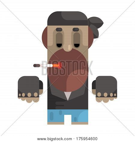 Biker In Bandana And Leather Vest Smoking Cigarette, Revolting Homeless Person, Dreg Of Society, Pixelated Simplified Male Vagabond Character. Scary And Disgusting Outcast Addict Isolated Vector Flat Icon.