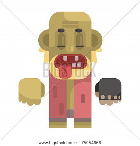 Old Toothless Tramp With Blond Beard, Revolting Homeless Person, Dreg Of Society, Pixelated Simplified Male Vagabond Character. Scary And Disgusting Outcast Addict Isolated Vector Flat Icon.